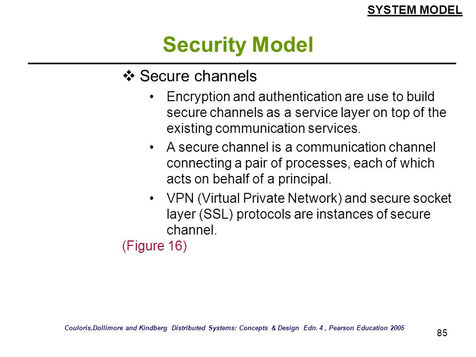Security Model Secure channels
