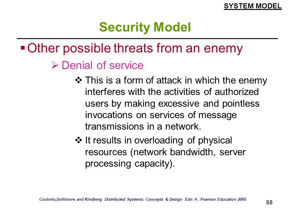 Other possible threats from an enemy