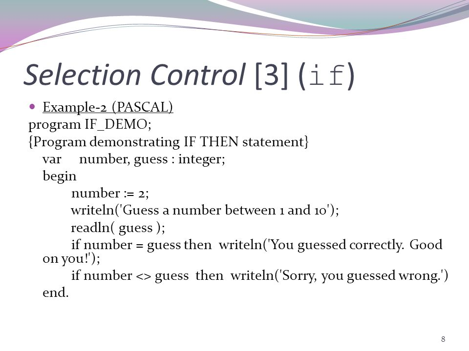 Selection Control [3] (if)