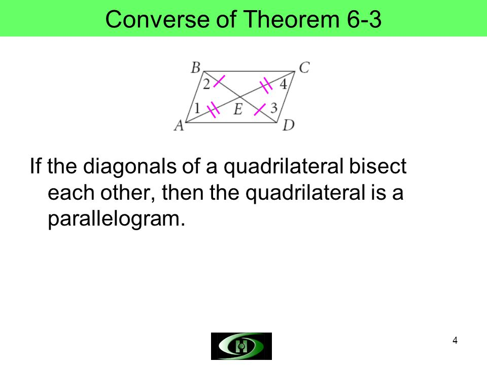 Converse of Theorem 6-3 If the diagonals of a quadrilateral bisect each other, then the quadrilateral is a parallelogram.
