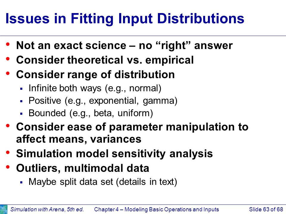 Issues in Fitting Input Distributions