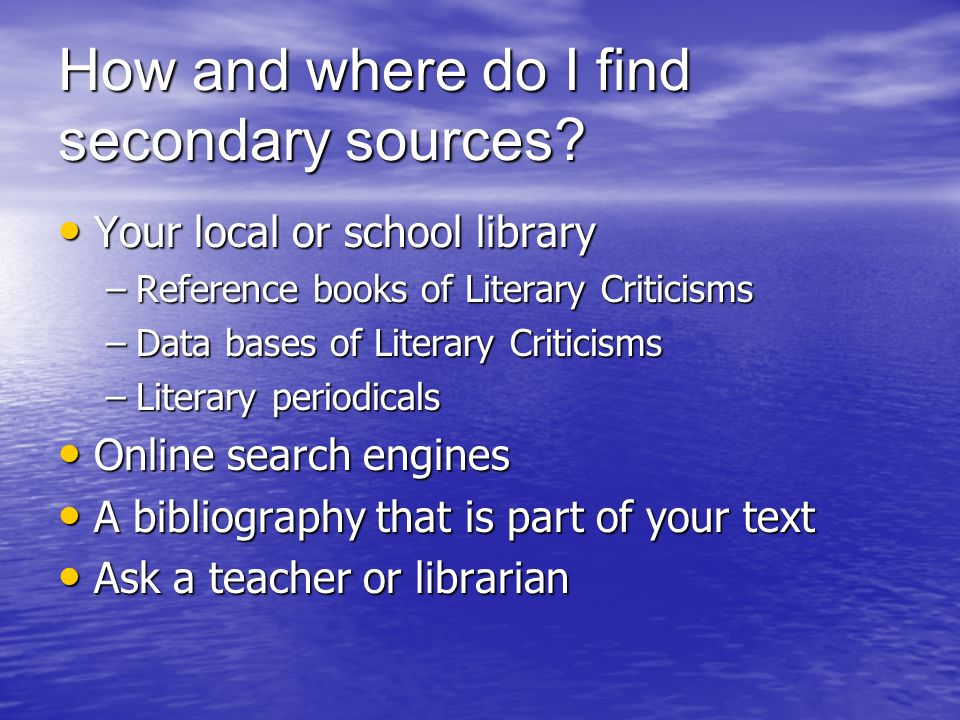 How and where do I find secondary sources