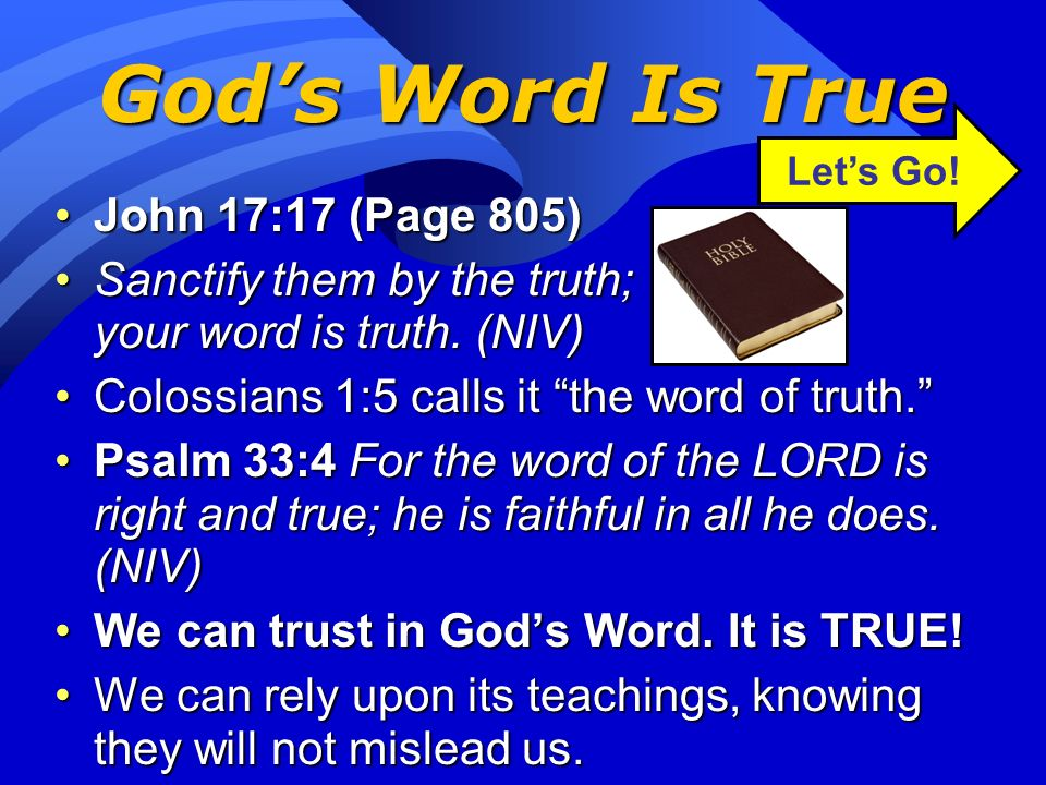 God's Word Is True John 17:17 (Page 805)
