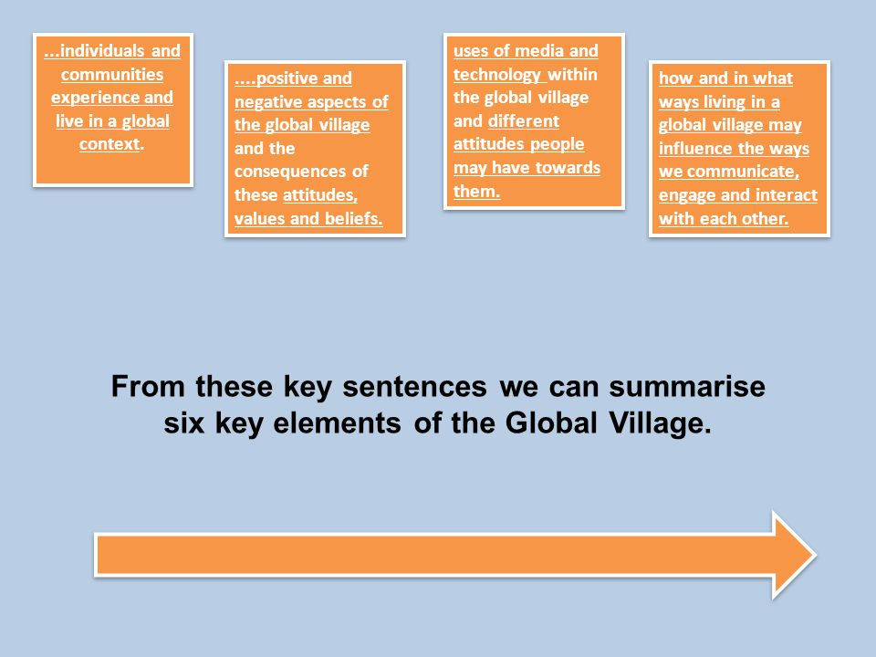 ...individuals and communities experience and live in a global context.