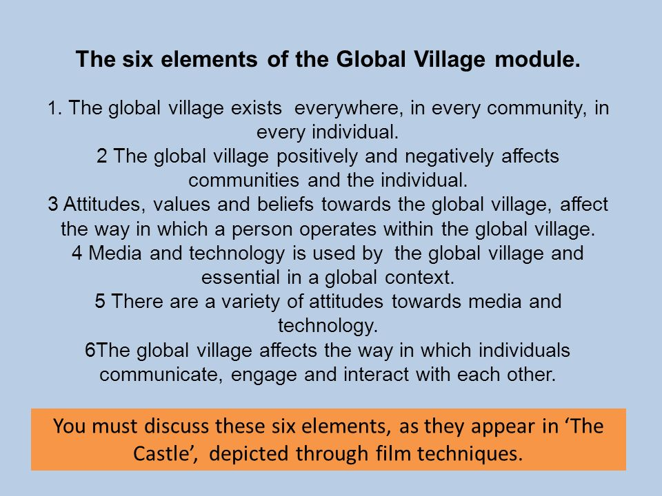 The six elements of the Global Village module.