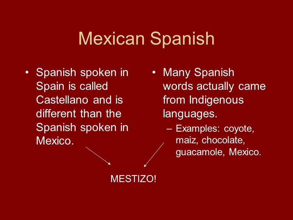 Mexican Spanish Spanish spoken in Spain is called Castellano and is different than the Spanish spoken in Mexico.