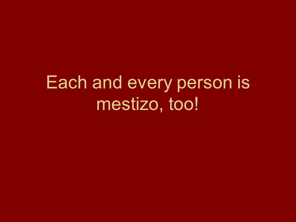 Each and every person is mestizo, too!