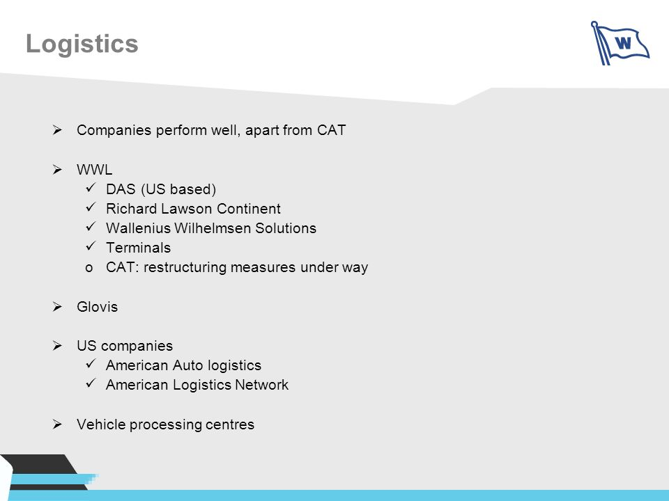 Logistics Companies perform well, apart from CAT WWL DAS (US based)