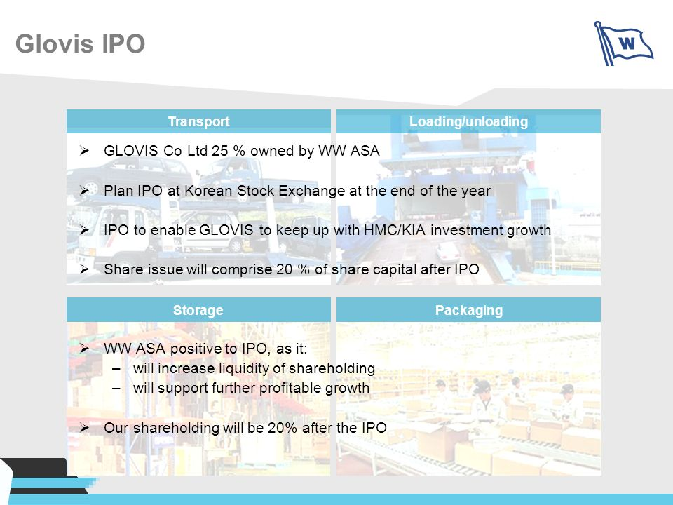 Glovis IPO GLOVIS Co Ltd 25 % owned by WW ASA