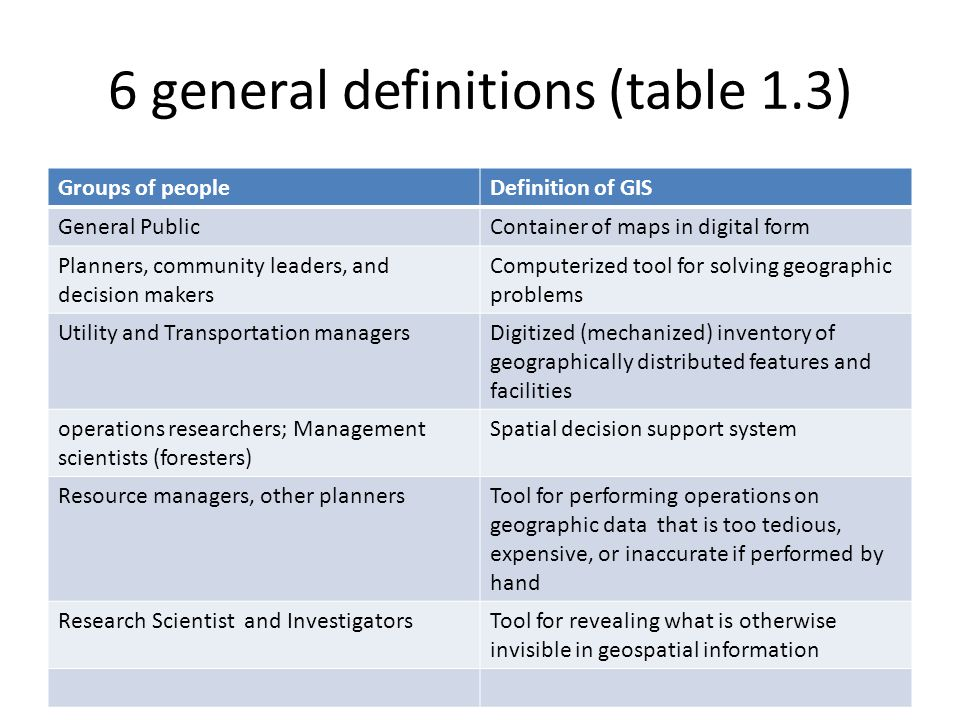 6 general definitions (table 1.3)