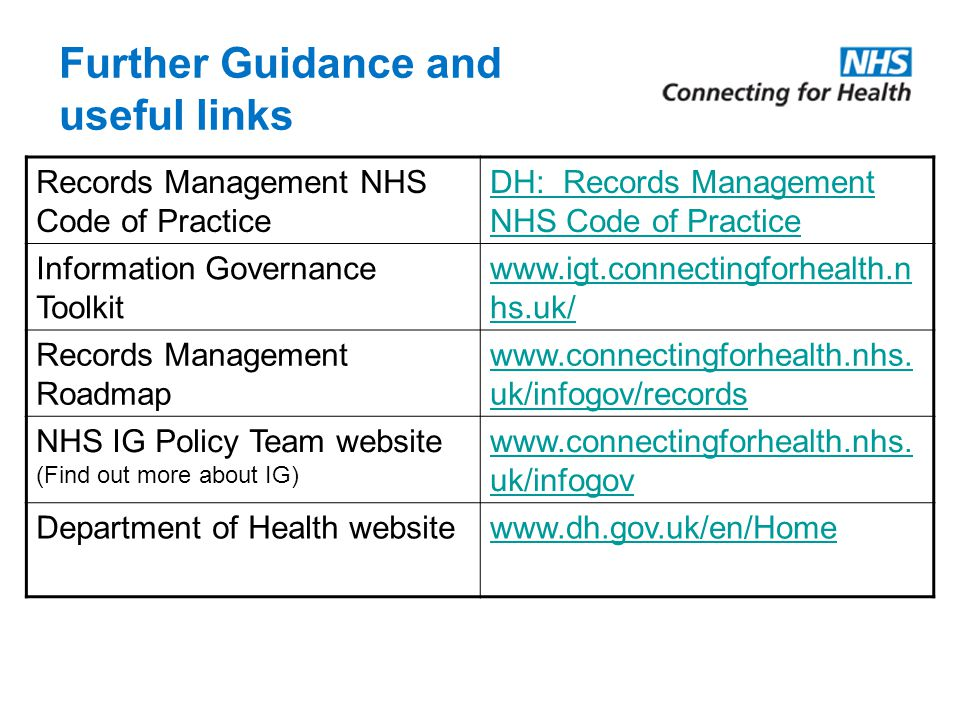 Further Guidance and useful links