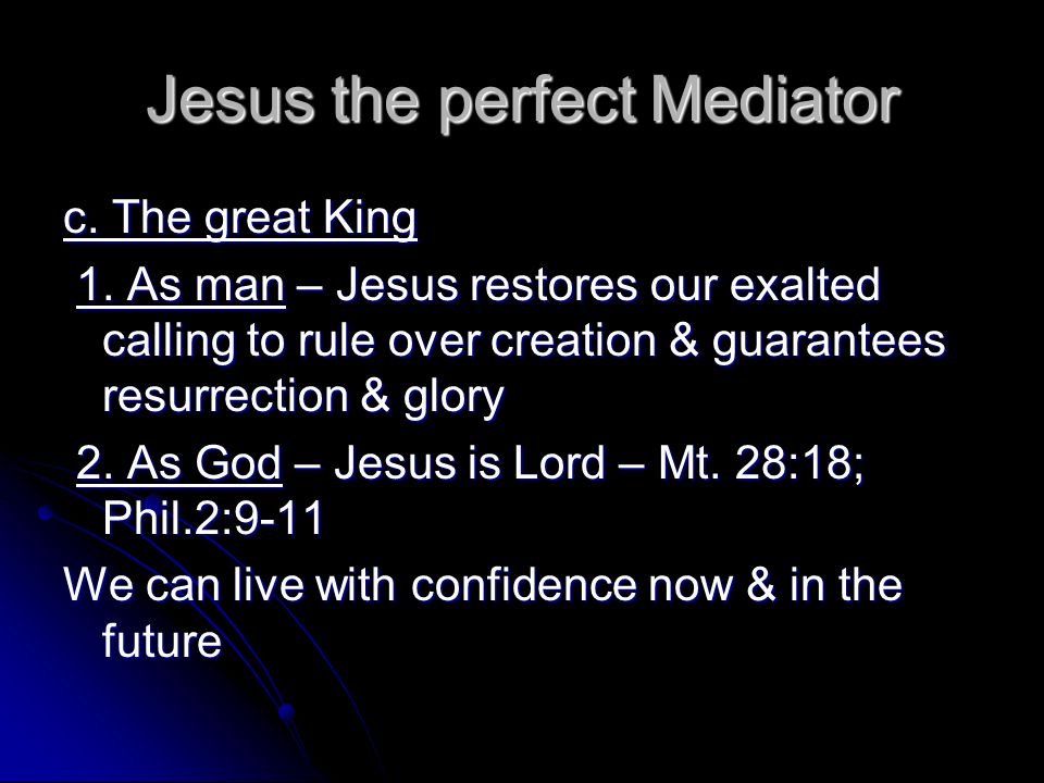 Jesus the perfect Mediator