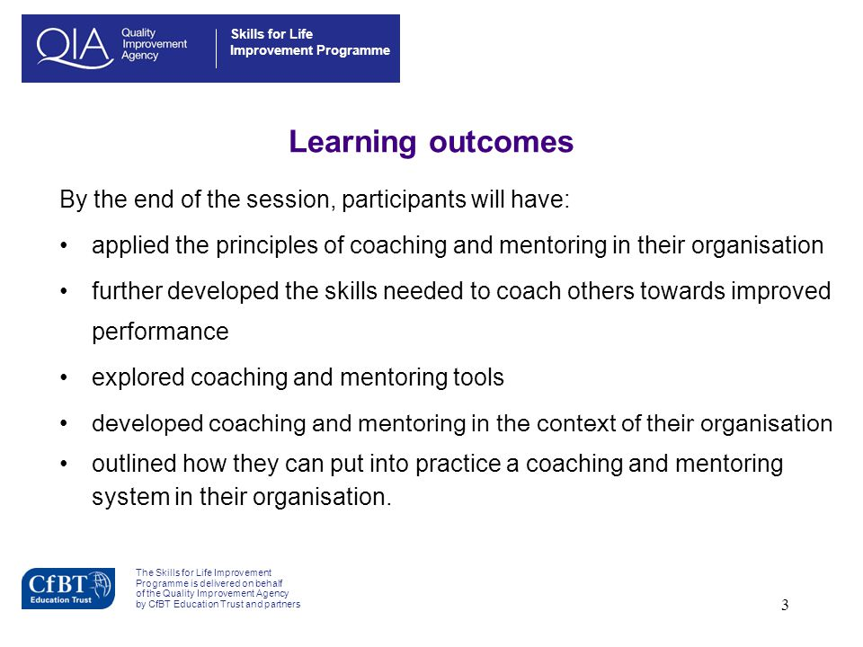 Learning outcomes By the end of the session, participants will have: