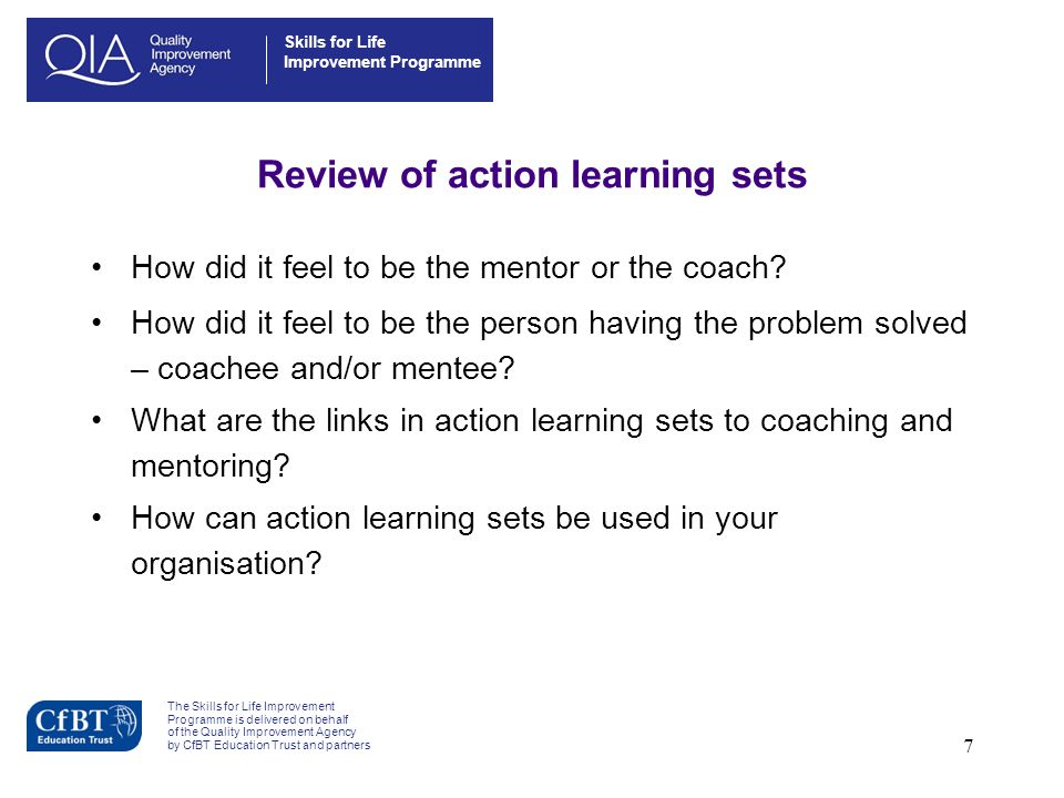 Review of action learning sets