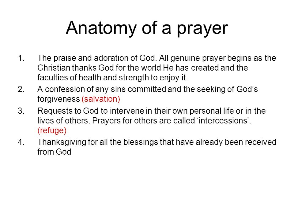 Anatomy of a prayer