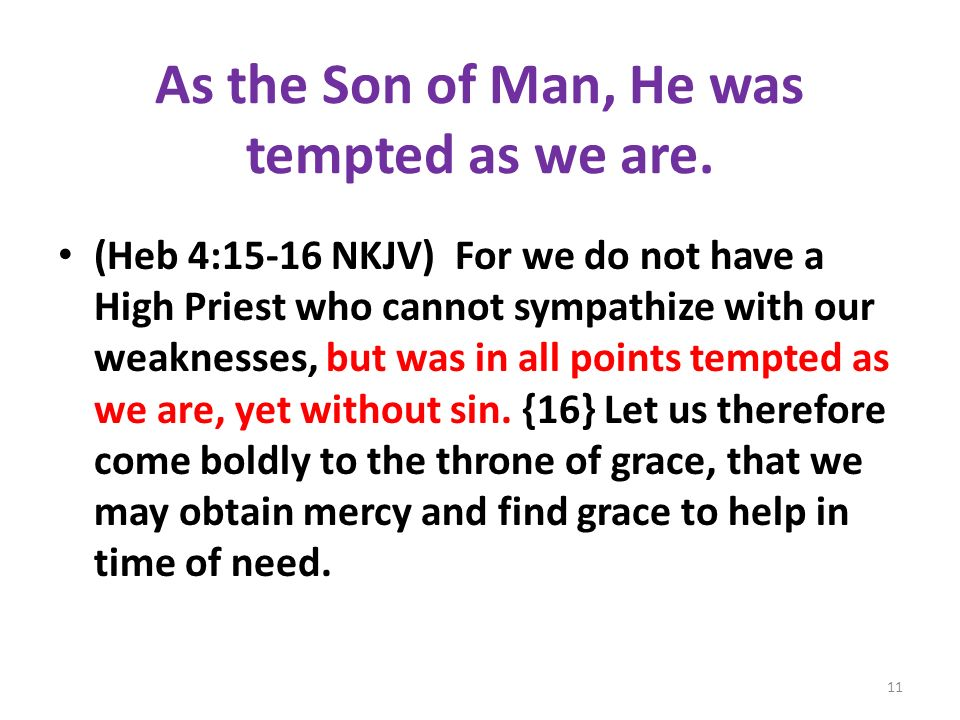 As the Son of Man, He was tempted as we are.