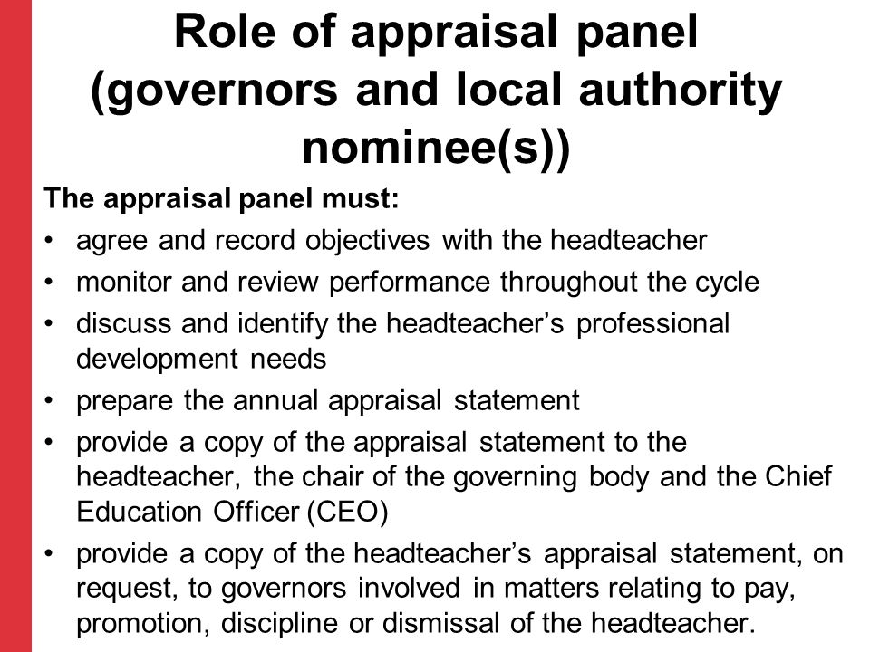 Role of appraisal panel (governors and local authority nominee(s))