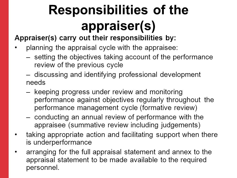 Responsibilities of the appraiser(s)