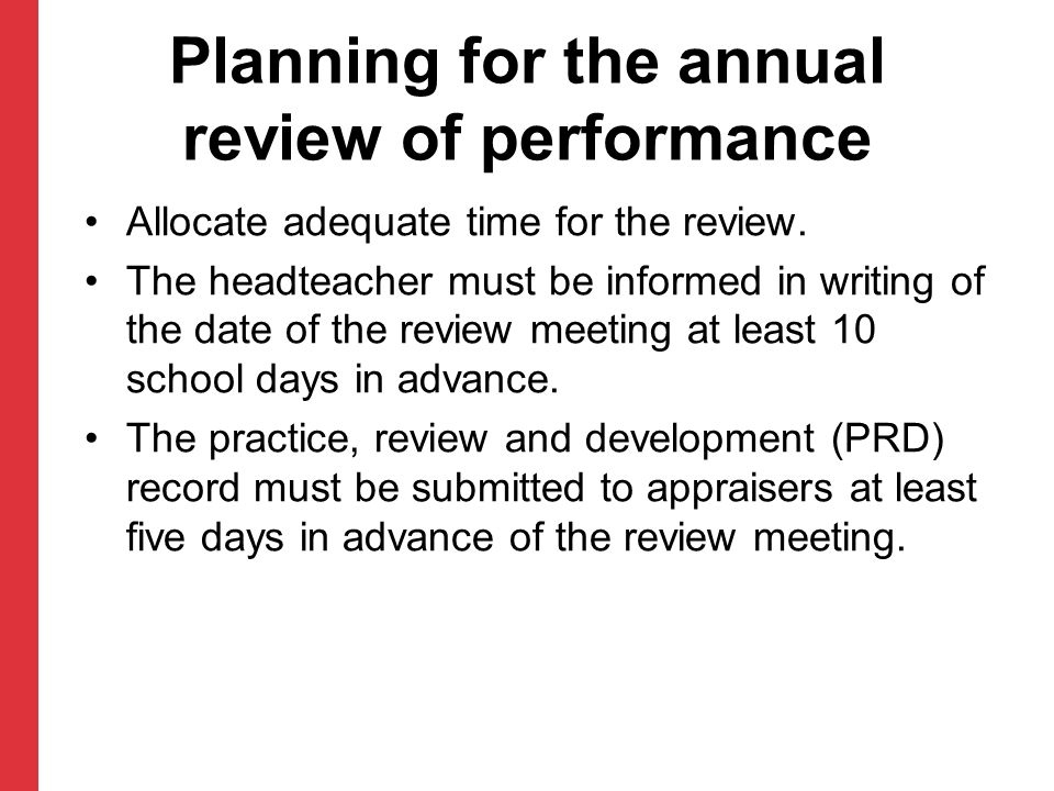 Planning for the annual review of performance