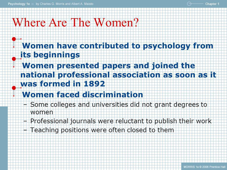 Where Are The Women Women have contributed to psychology from its beginnings.