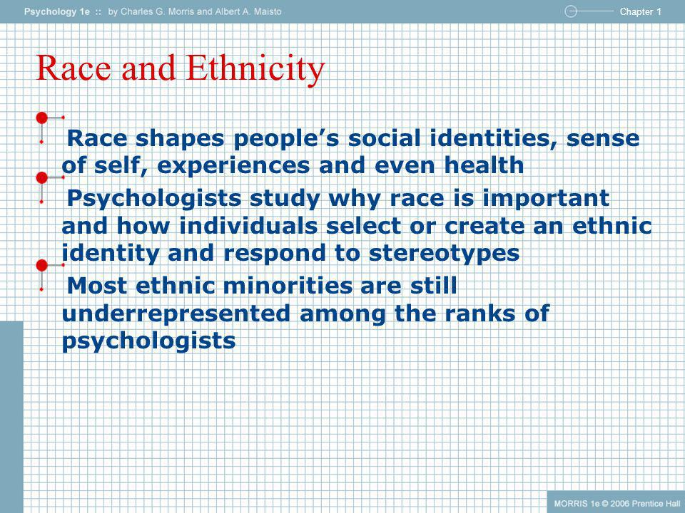 Race and Ethnicity Race shapes people's social identities, sense of self, experiences and even health.