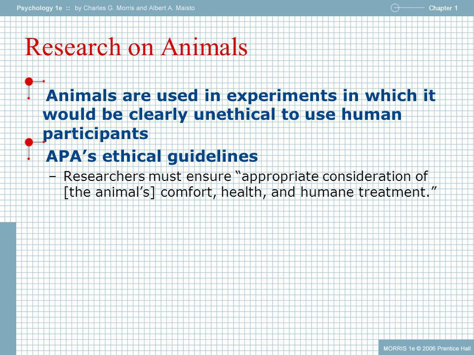 Research on Animals Animals are used in experiments in which it would be clearly unethical to use human participants.