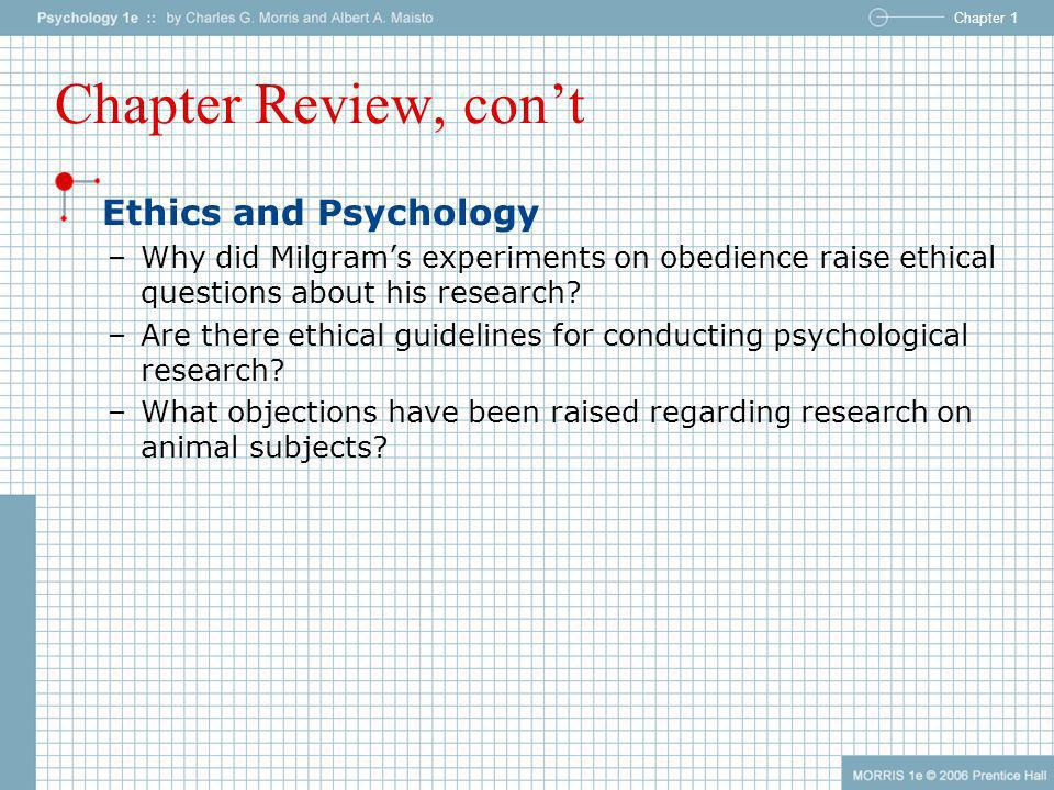 Chapter Review, con't Ethics and Psychology