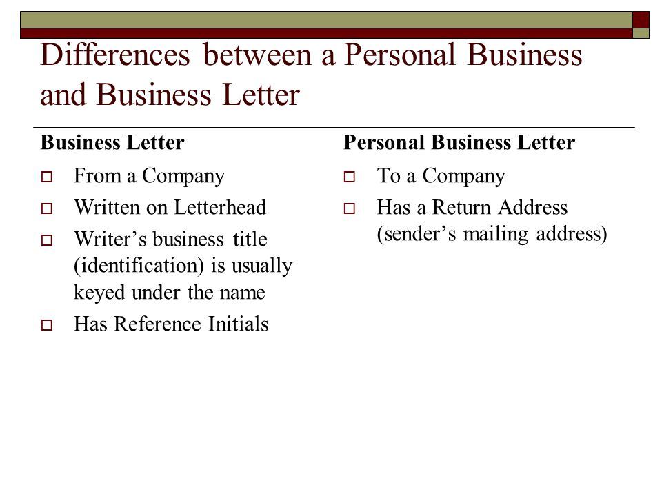 Differences between a Personal Business and Business Letter