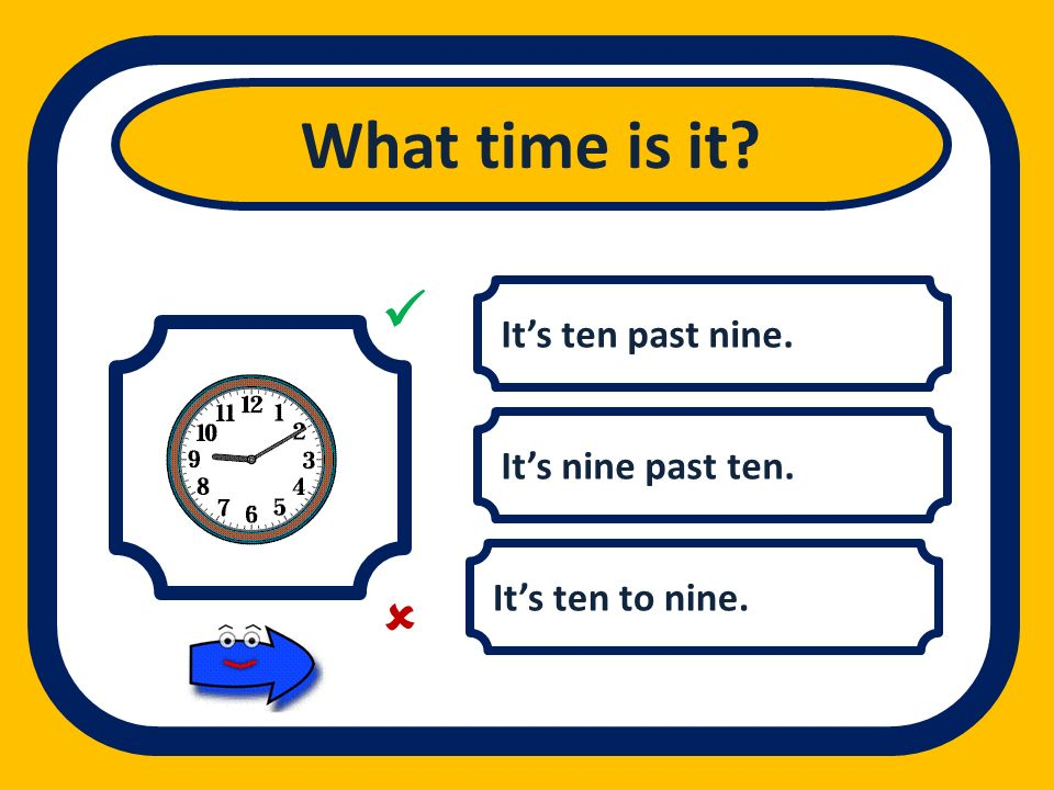 What time is it   It's ten past nine. It's nine past ten.