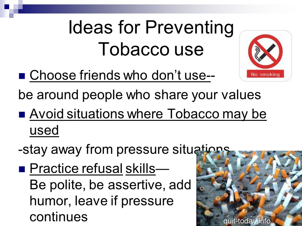 Ideas for Preventing Tobacco use