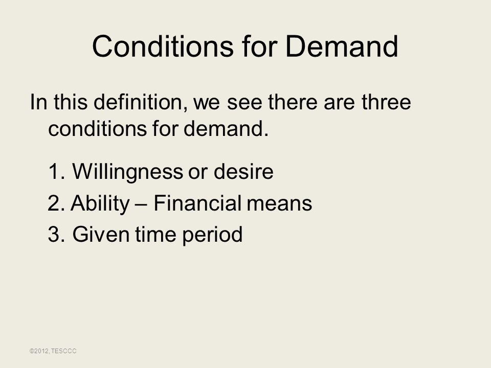 Conditions for Demand