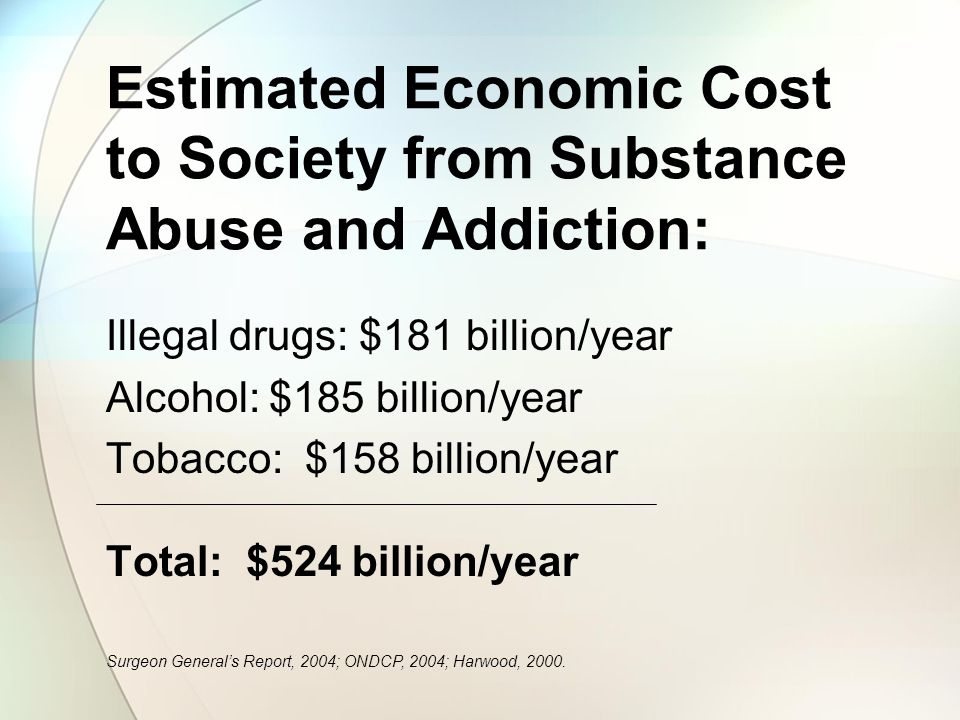 Estimated Economic Cost to Society from Substance Abuse and Addiction: