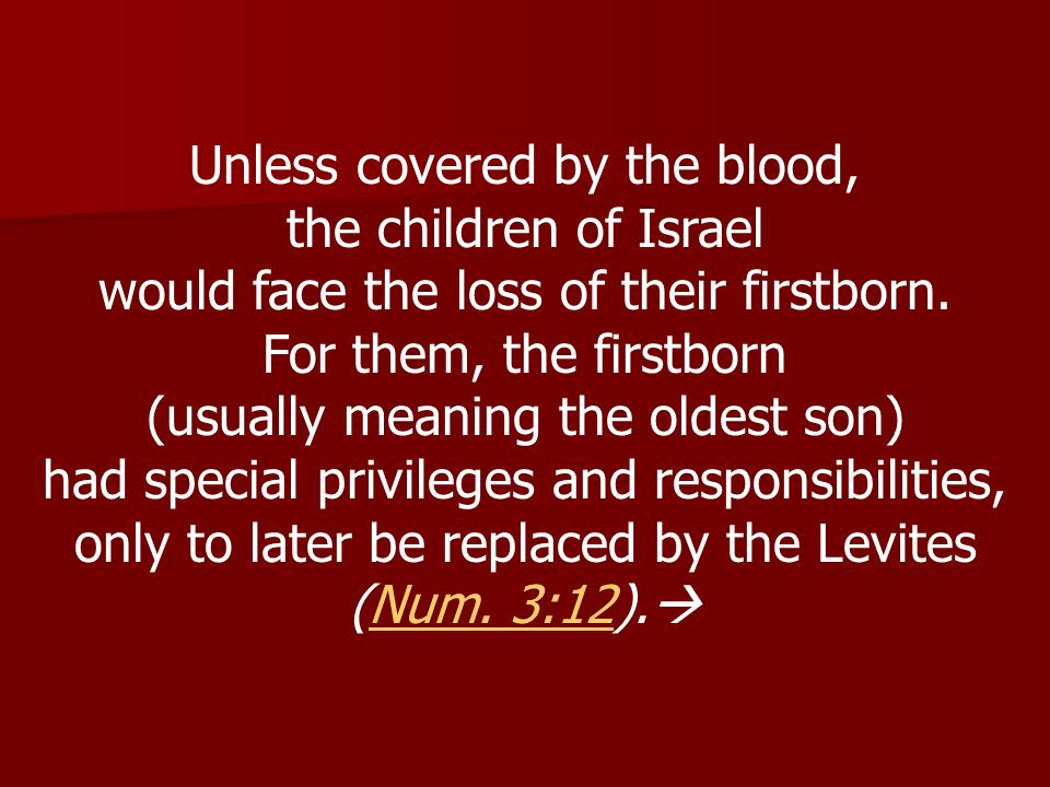 Unless covered by the blood, the children of Israel