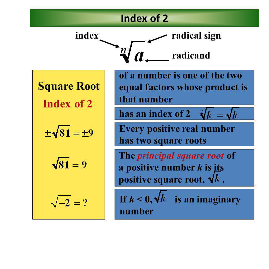 Index of 2 Square Root Index of 2 radical sign radicand index