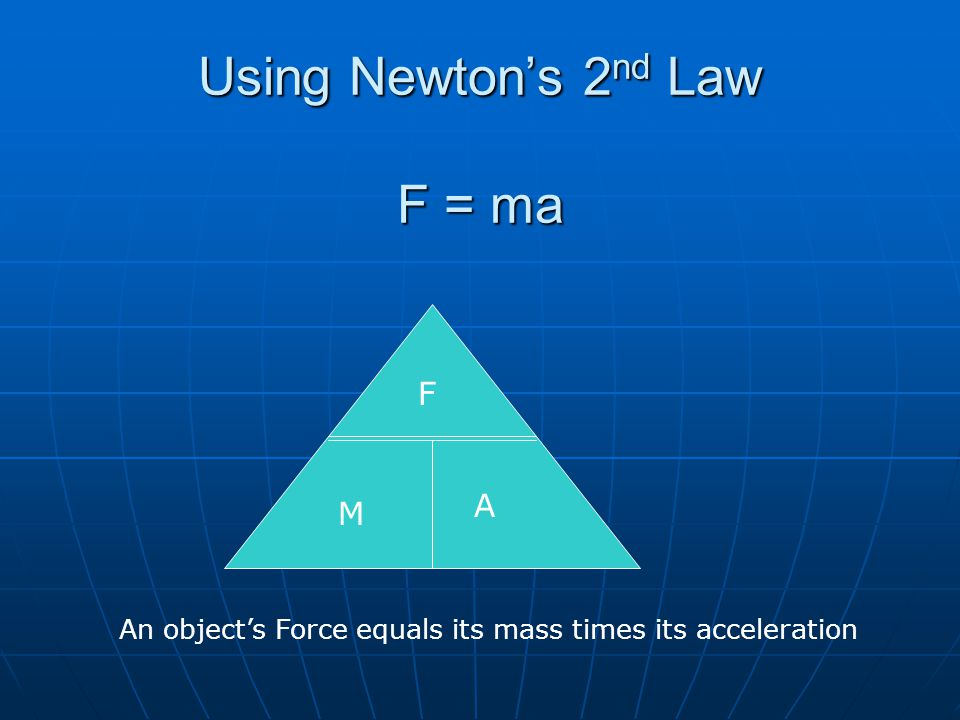 Using Newton's 2nd Law F = ma