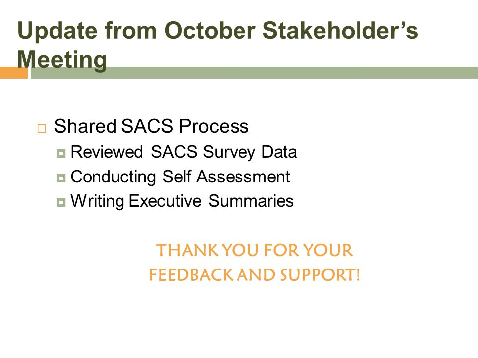 Update from October Stakeholder's Meeting