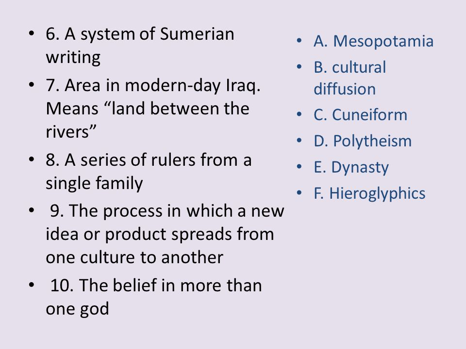 6. A system of Sumerian writing