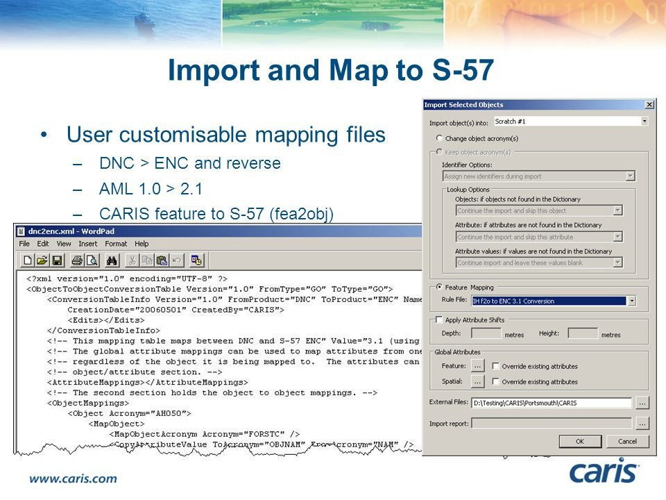 Import and Map to S-57 User customisable mapping files