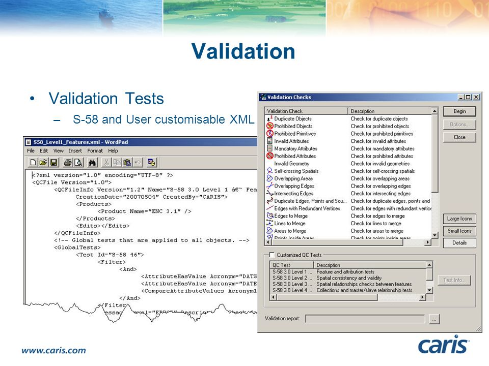 Validation Validation Tests S-58 and User customisable XML