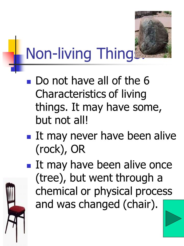 Non-living Things: Do not have all of the 6 Characteristics of living things. It may have some, but not all!