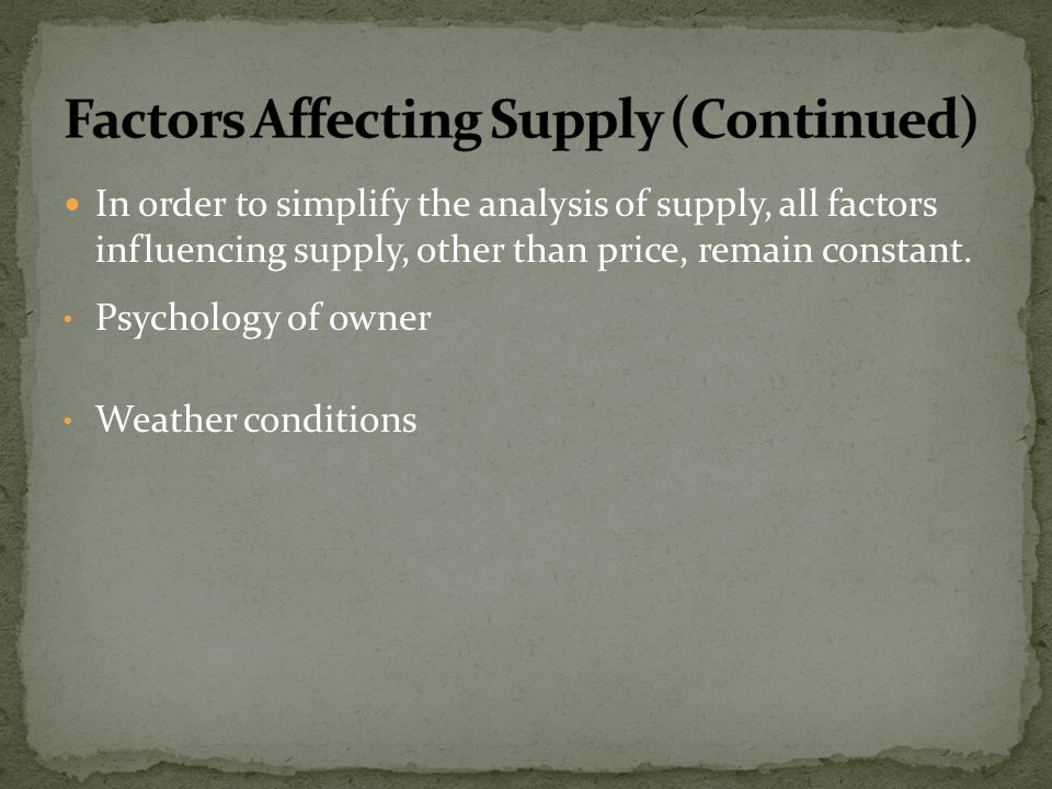 Factors Affecting Supply (Continued)
