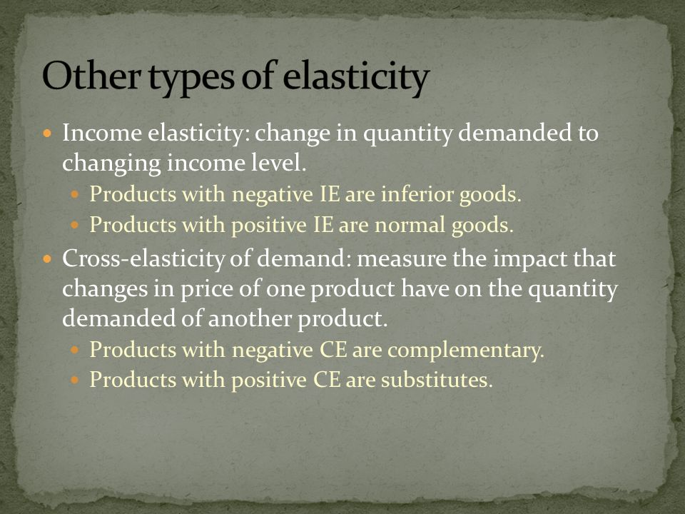 Other types of elasticity