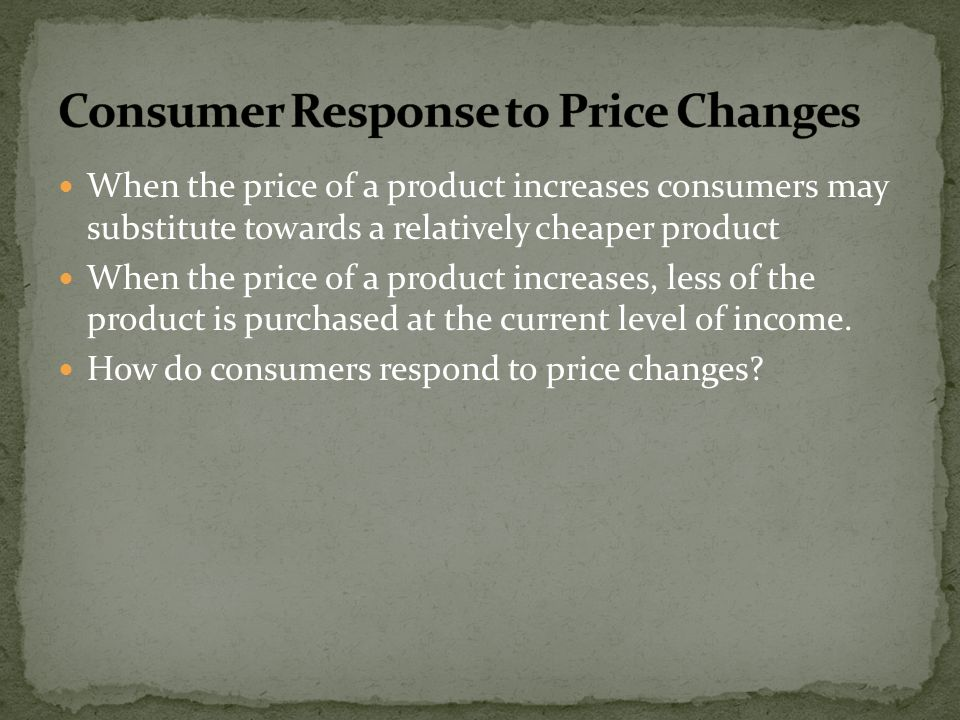 Consumer Response to Price Changes