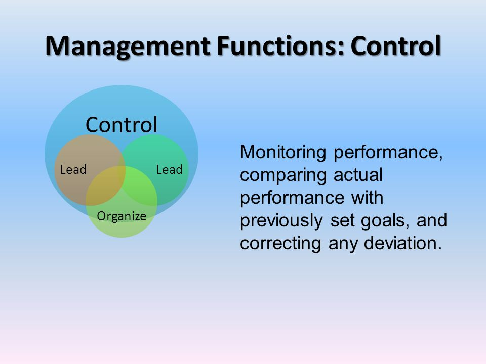 Management Functions: Control