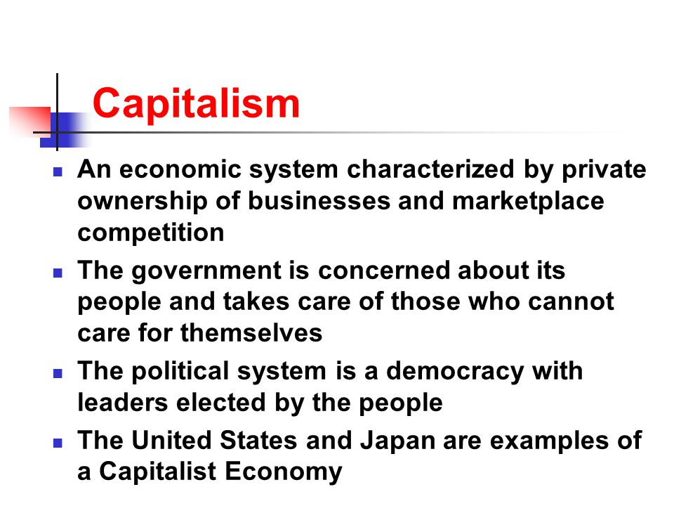 Capitalism An economic system characterized by private ownership of businesses and marketplace competition.