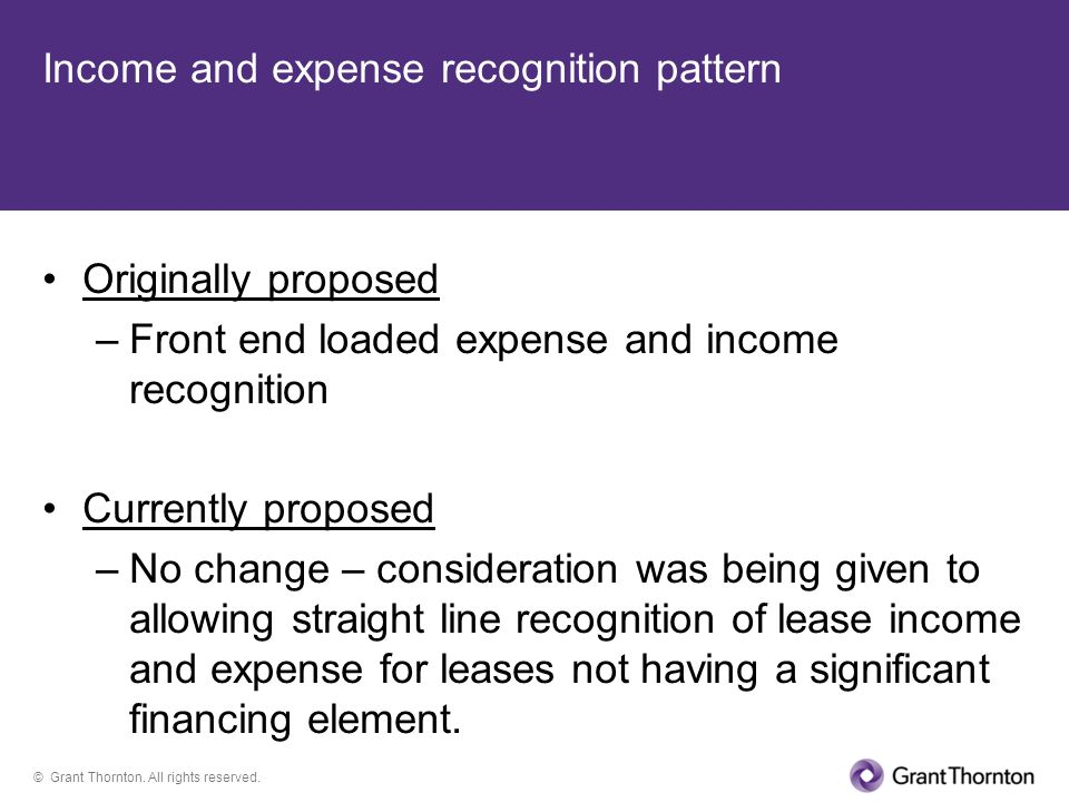 Income and expense recognition pattern