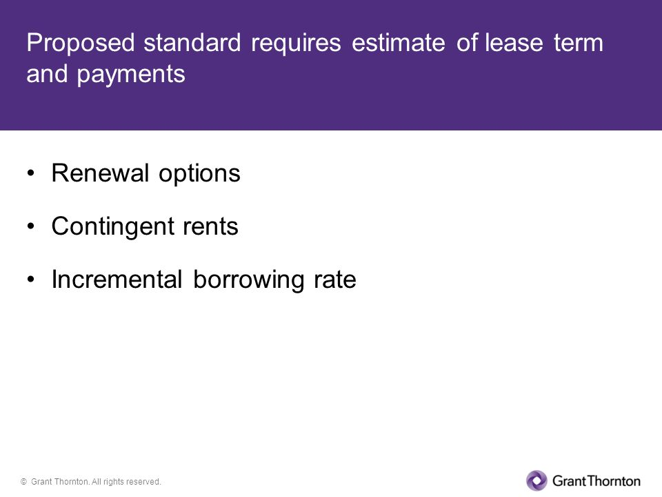 Proposed standard requires estimate of lease term and payments