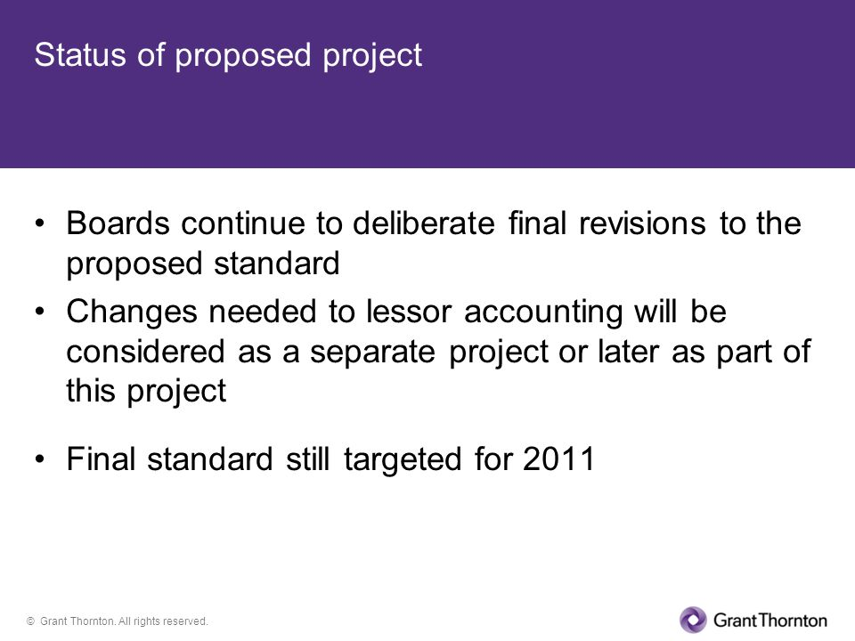 Status of proposed project