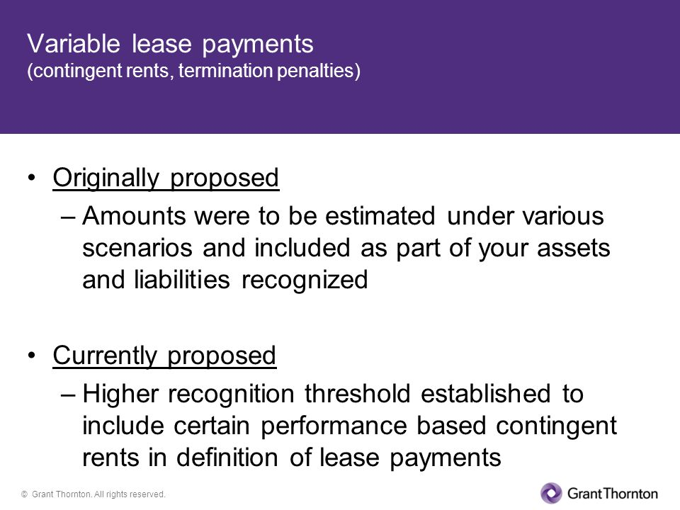 Variable lease payments (contingent rents, termination penalties)