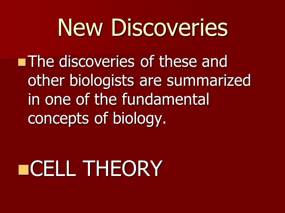 New Discoveries CELL THEORY